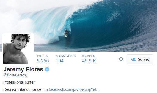 Le surfeur international est suivi par plus de 45 000 personnes sur Twitter